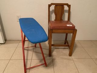 Child's ironing board, chair