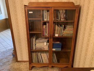 Pine bookcase w  glass doors