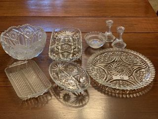 Cut glass serving dishes with candlesticks