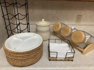 Wicker plate holders  canisters  etc