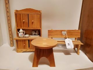Toy wooden hoosier, toy bench, toy stool