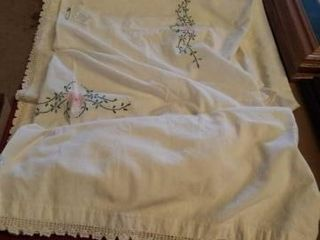 80  x 81  VINTAGE COVERlET  HAND EMBROIDERED