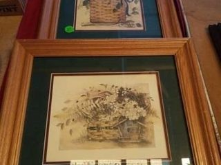 2 WOOD FRAMED BASKET PICTURES  18  X 16