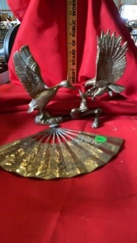 BRASS EAGlE  DUCK AND FAN
