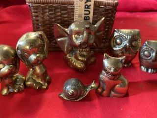 MINIATURE BRASS ANIMAlS  ElEPHANT   OWlS