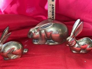 BRASS MAMA RABBIT AND 2 BABY RABBITS