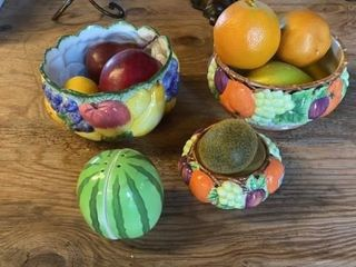 3 HAND PAINTED BOWlS WITH FAKE FRUIT AND