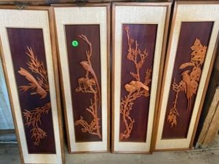4 PIECE BIRD ART DECO  EACH IS 35IJ BY 10IJ