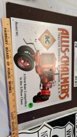 AllIS CHAlMERS COllECTOR METAl SIGN