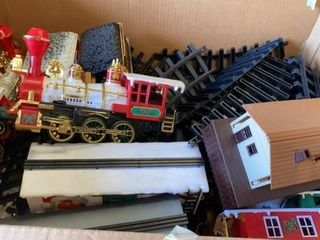 CHRISTMAS TRAIN SET WITH TRACKS AND DEPOT  2