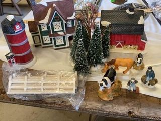 CHRISTMAS BARN  SIlO  HOUSE TREES ANUMAlS AND