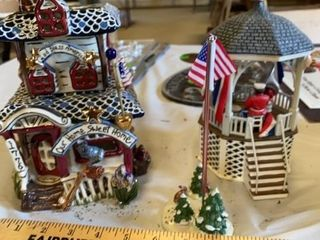 3 PIECE PATRIOTIC CERAMIC HOUSE  BAND STAND AND