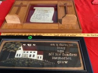 RElIGIOUS PICTURE   HEAVY WOOD FRAME A S FARM PIC