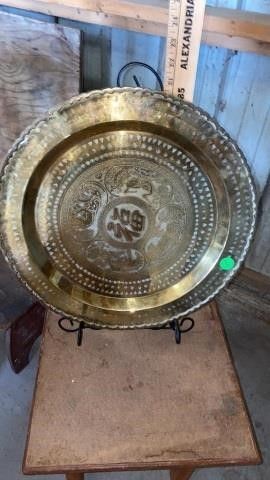 BRASS DECORATIVE PlATTER ON A STAND 20IJ by 17 IJ