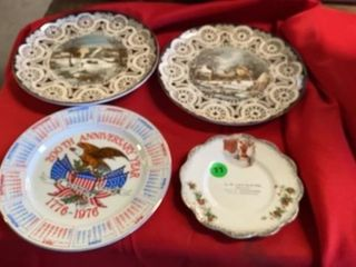 4 DECORATIVE PlATES   TWO HAVE CURRIOR AND IVES