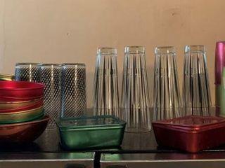 Vintage Glass & Aluminum Drinkware w/ Drink