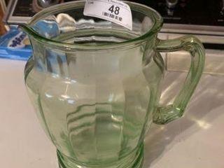 Green Depression Glass Pitcher