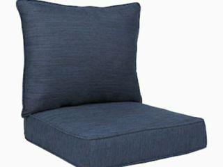 2 pc Navy Deep Seat Patio Chair Cushion Indoor Outdoor Comfort Soft Navy blue