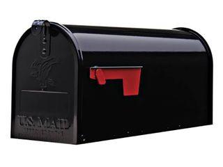 Gibraltar Elite Medium  Galvanized Steel  Black Post Mount Mailbox