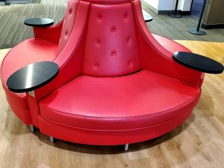 Circle Sofa Round Banquette Tufted Booth for lobby 4 Tables w Outlets for Charging