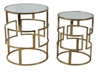 Silver Orchid Banks Mirrored Nesting Tables  Set of 2  Retail   129 99
