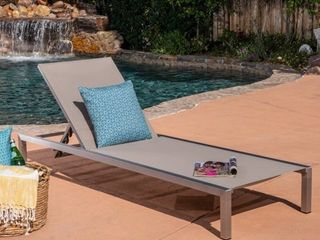 Navan Outdoor Chaise lounge by Christopher Knight Home Grey Silver Retail   316 99