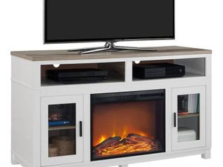 Carver Fireplace TV Console with Glass Doors   Oxford White   Altra Console Only No Fireplace Insert