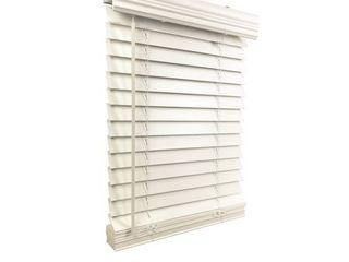 2  Cordless Faux Wood Blind White 61 5  W x 60  H  Inside Mount