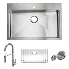 Damage   See Photos   Giagni Trattoria 22 in x 33 in Stainless Steel Single Basin Stainless Steel Drop In 1 Hole Residential Kitchen Sink All in One Kit
