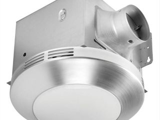 Cracked Vent Homewerks Worldwide Decorative Brushed Nickel 80 CFM Ceiling Mount Bathroom Exhaust Fan with lED light