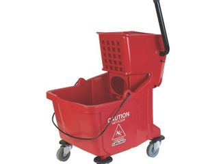 Carlisle 3690405 Flo Pac Polyethylene Mop Bucket with Side Press Wringer  35qt Capacity  20 1 2  length x 16 1 2  Width x 16 1 2  Height  Red