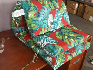Red and Green leaf Pattern Chaise lounge Cushion