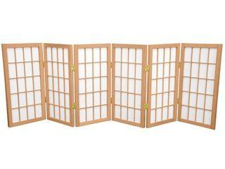 2 ft  Tall Desktop Window Pane Shoji Screen   Natural  6 Panels    Oriental Furniture