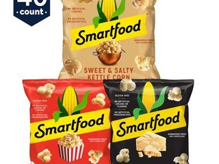 Smartfood White Cheddar  Kettle Corn   Movie Theater Butter Popcorn  40 Ct Variety Pack  0 5 Oz  Bags