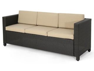 Puerta Outdoor  PE  Wicker 3 Seater Sofa by Christopher Knight Home