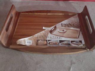 lipper International Reversible Acacia Serving Bed Tray Corner Chipped See Pics