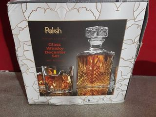 Paksh Novelty 7 piece Italian Crafted Glass Decanter Whisky Glasses Set  missing 1 glass Bourbon NOT Included