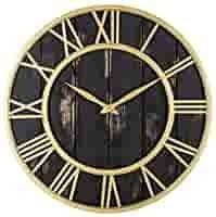Oldtown Clocks Gold and Black Washed Home Decor Wall Clock   Metal   Solid Wood Noiseless Wall Clock  Black Gold  24 inch