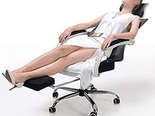 Hbada Ergonomic Office Recliner Chair   High Back Desk Chair Racing Style with lumbar Support   Height Adjustable Seat  Headrest  Breathable Mesh Back   Soft Foam Seat Cushion with Footrest  White
