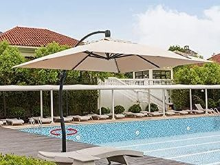 Mefo Garden 10 By 10 feet Classic Offset Patio Umbrella  360A Rotated Cantilever