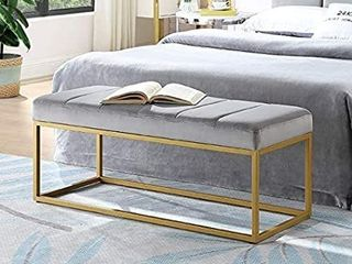 24KF Velvet Upholstered Channel Tufted Bench with Modern Golden Metal Frame legs