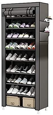 UDEAR 9 Tier Shoe Rack with Dustproof Cover Shoe Shelf Storage Organizer