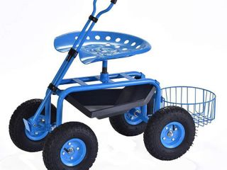 Deluxe Rolling Garden Stool Blue