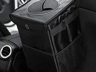 WARMAGIA Waterproof Car Trash Can with lid and Storage Pockets