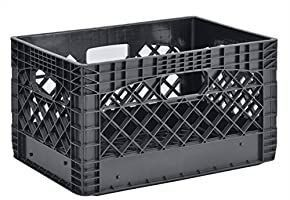 muscle rack 24 quart 1 Pack black heavy duty rectangular stackable dairy milk crate  11  height  19  width