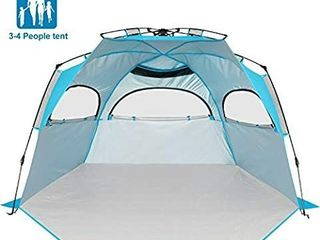 BATTOP Beach Tent Sun Shelter Pop Up Beach Shade for 3 4 Person   Easy Setup Portable Beach Beach Tents Sun Shelter for Family Extended Floor   3 Ventilation Windows