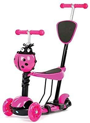 5 in 1 Scooter  Kids toddler adjustable scooters w flashing wheel  3  three  wheeled scooter with seat  My first birthday gift for kid children boys girls toddlers 1 2 6 age years old  Monopatin  Pink