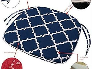 IN4 Care Outdoor Indoor Chair Seat Cushion with Ties  Patio Chair Pad 16x17 Inch for Home Office Patio Furniture Garden Decoration  Geometry Navy