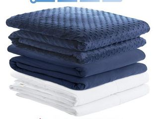 Degrees of Comfort Weighted Blanket w  1 Duvet Cover SleepersAdvanced Nano Ceramic Beads Deliver Durability   Silky Comfort  41x60 10lbs  Navy