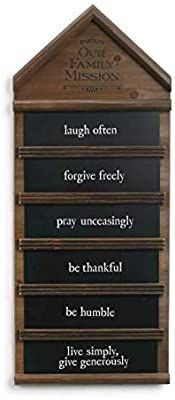 Redrock Traditions Family Mission Statement 24 X 14 Wood Chalkboard Wall Plaque